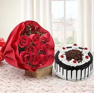 12 adet kırmızı gül 4 kişilik yaş pasta  Ordu çiçekçi telefonları