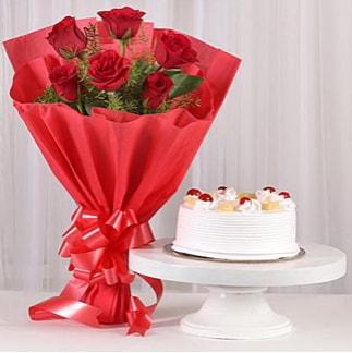 6 Kırmızı gül ve 4 kişilik yaş pasta  Ordu çiçekçi telefonları