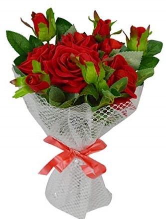 9 adet kırmızı gülden sade şık buket  Ordu çiçek yolla