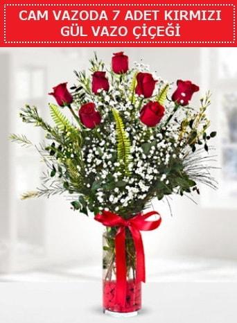Cam vazoda 7 adet kırmızı gül çiçeği  Ordu çiçek yolla , çiçek gönder , çiçekçi