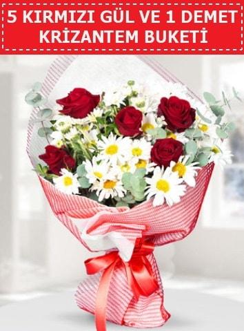 5 adet kırmızı gül ve krizantem buketi  Ordu çiçek gönderme