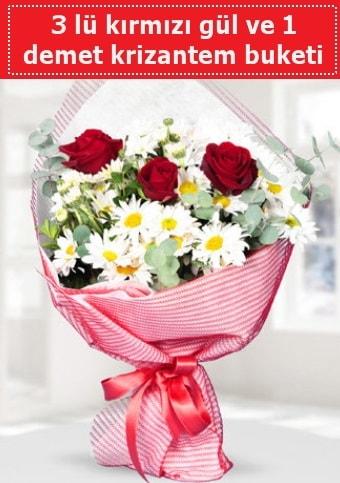3 adet kırmızı gül ve krizantem buketi  Ordu çiçek yolla , çiçek gönder , çiçekçi
