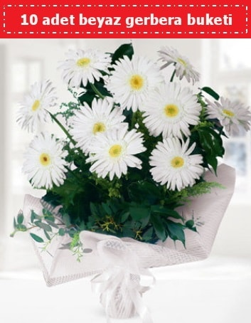 10 Adet beyaz gerbera buketi  Ordu çiçekçi telefonları