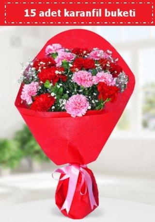 15 adet karanfilden hazırlanmış buket  Ordu online çiçek gönderme sipariş